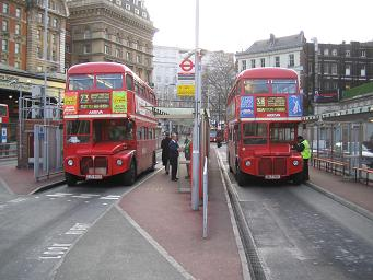 Routemaster buses at Victoria station. � Robert Mason